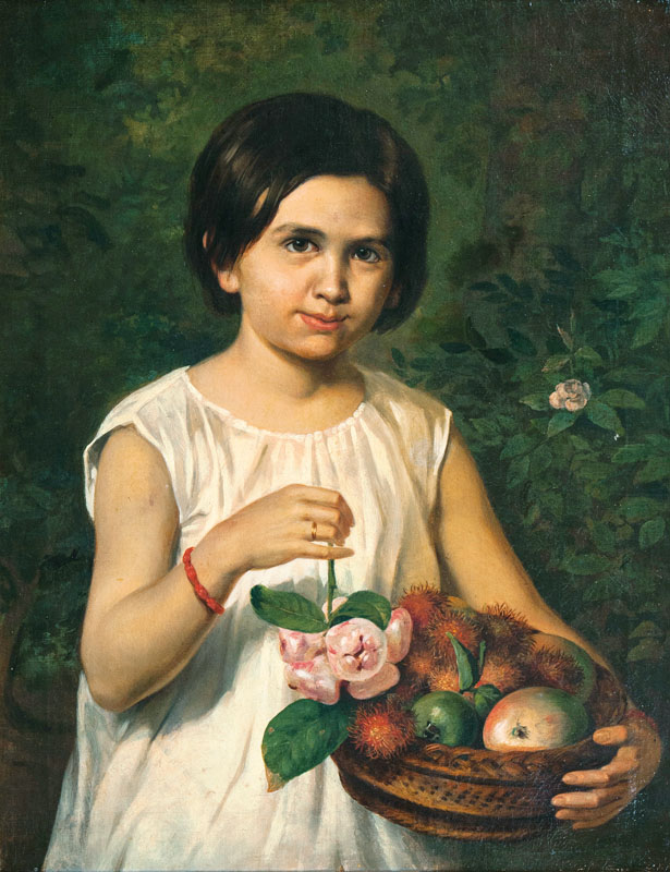 Portrait of an Indonesian Girl holding a Basket with Rambutan, Wax-apples and other Fruits