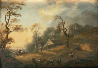 Idyllic Landscape with Farm and Herdsmen