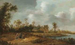 Landscape with Figures resting on a Field