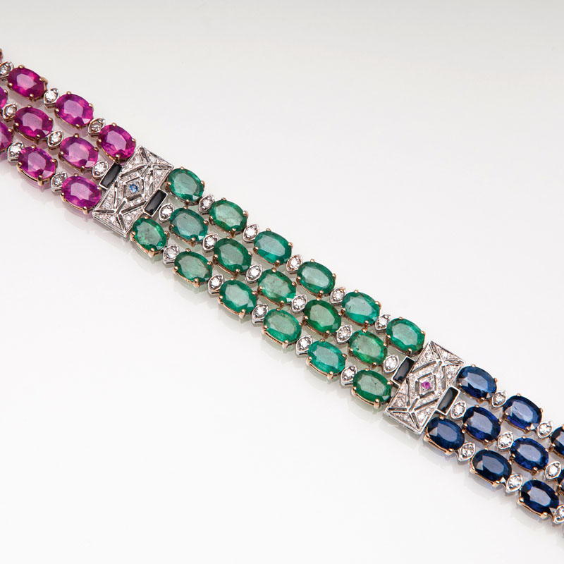 A ruby emerald sapphire bracelet with diamonds in Art-déco style