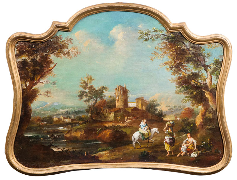 Idyllic Landscape with Women by a River
