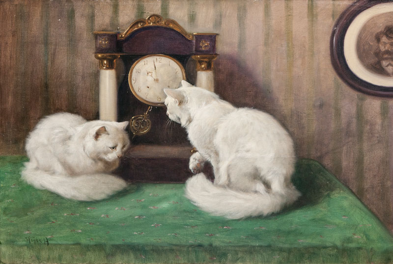 Two Cats playing with a Clock