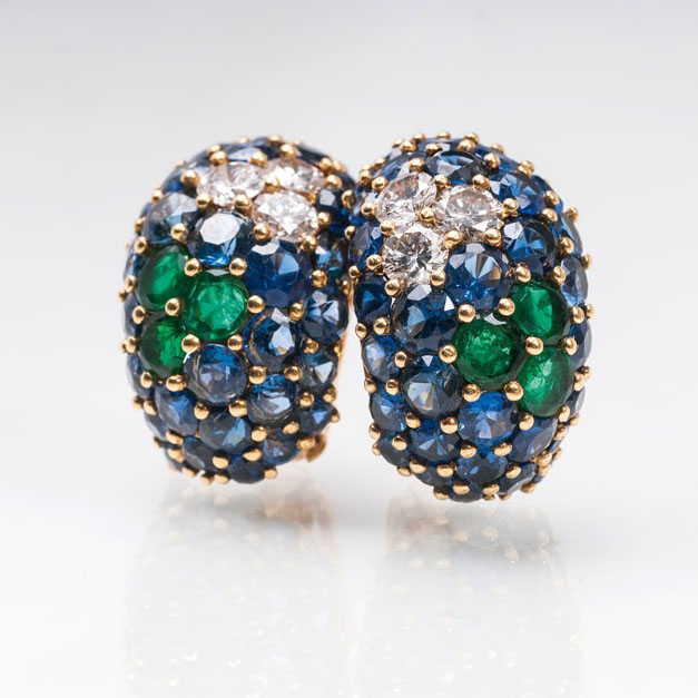 A pair of very fine sapphire emeralds diamond earclips