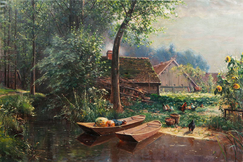 Harvest Time, Farm by a Canal