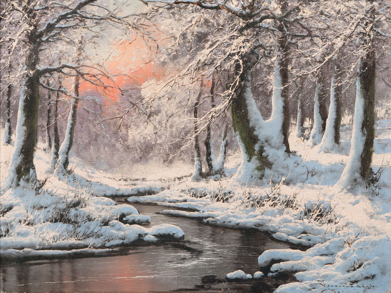 Sunset in a Winterly Forest