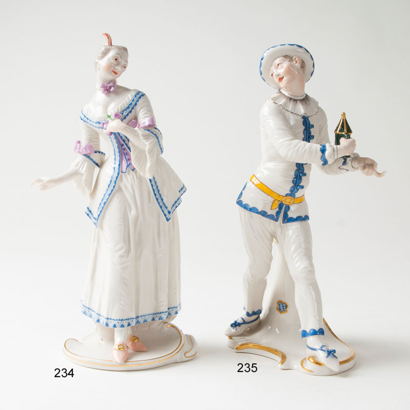 A porcelain figure 'Pierrot' from the Italian comedy
