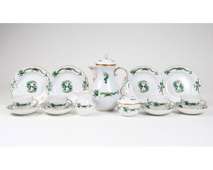A coffee service 'opulent green court dragon' for 8 persons