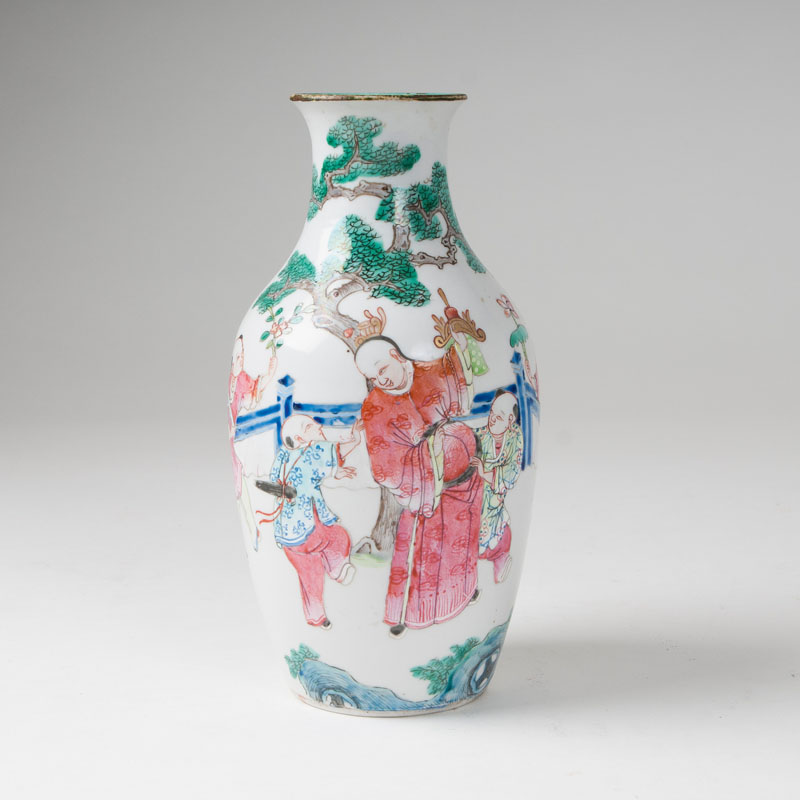 A famille-rose vase with figural scene