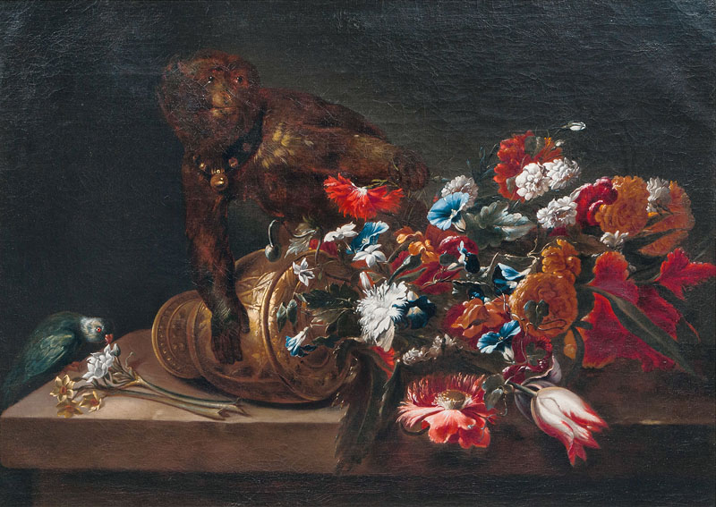 Still Life with Flowers, a Monkey and a Parrot