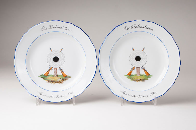 A pair of plates 'marksmen targets'