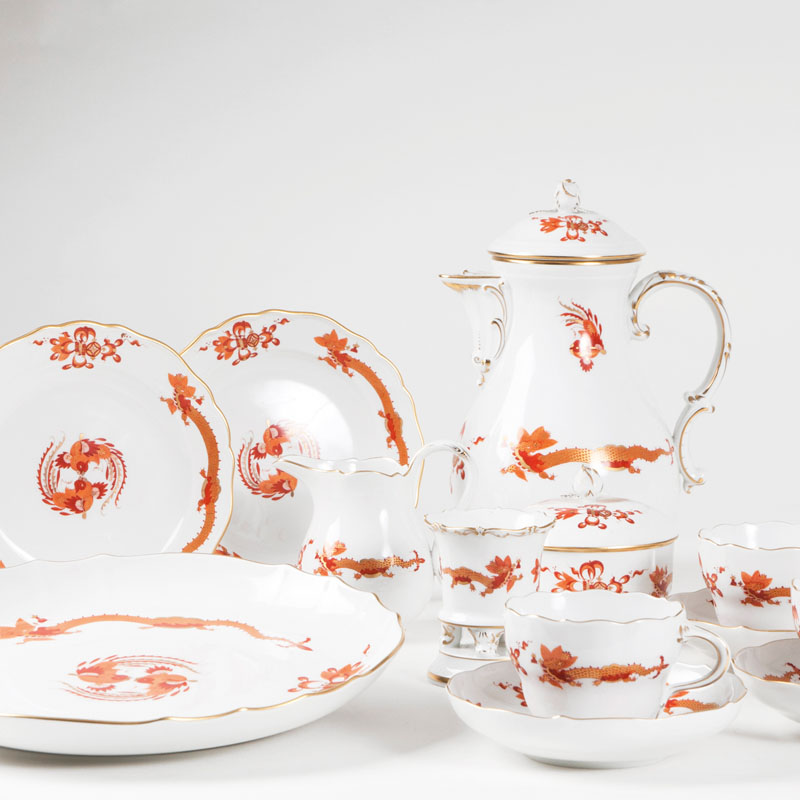 A coffee service 'opulent red court dragon' for 12 persons