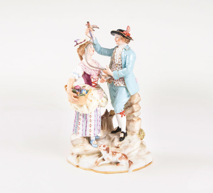 A porcelain group ' a pair of gardeners'