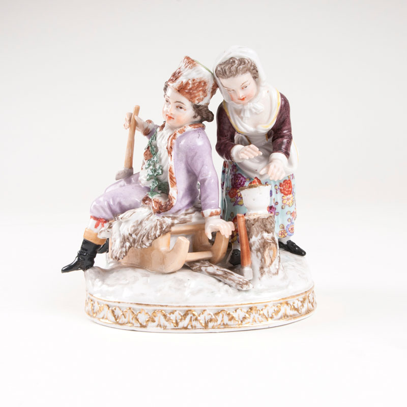 A porcelain group 'allegory of the winter'