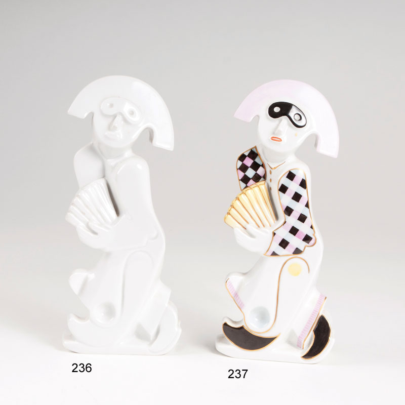 A porcelain figure 'harlequin with fan'