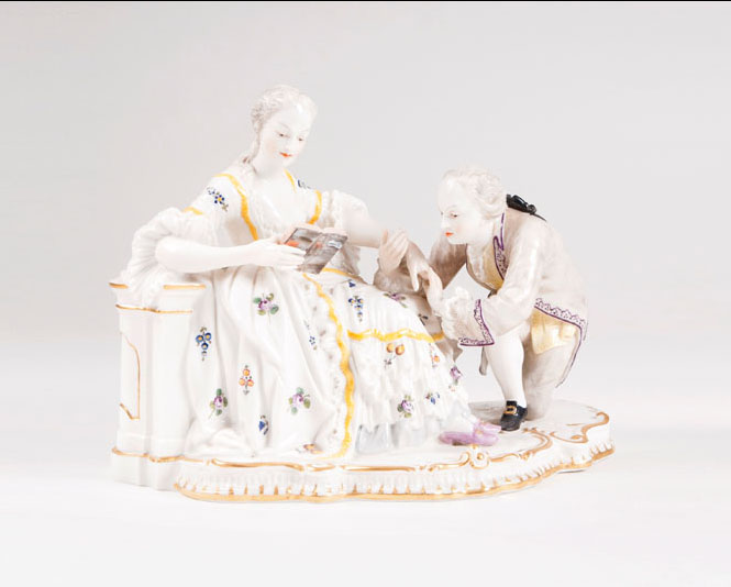 A gallant porcelain group 'The kiss on the hand'