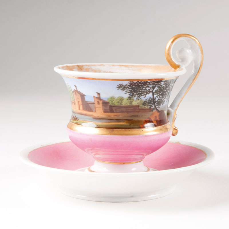 A Biedermeier cup with landscape painting
