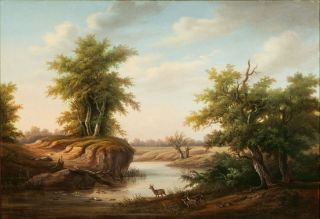 Romantic Landscape with Roes by a River