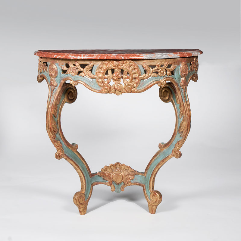 A parcel-gild and blue-painted Rococo console table