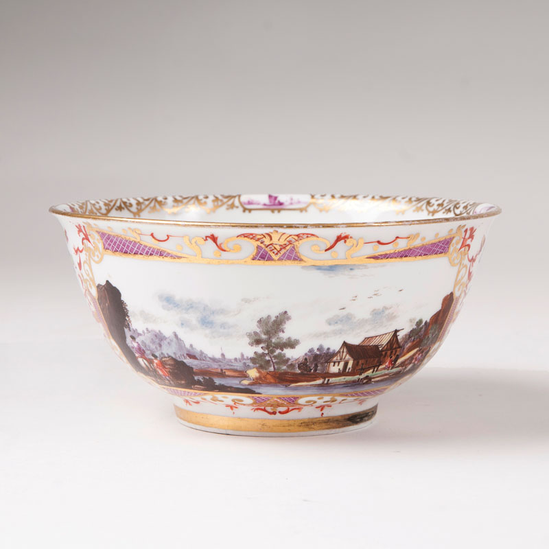 A bowl of museum-like quality with fine landscape decor in the styl of J.G.Heintze