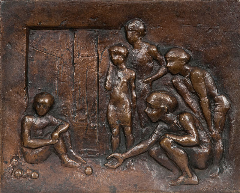 Bronze-relief 'marble players'