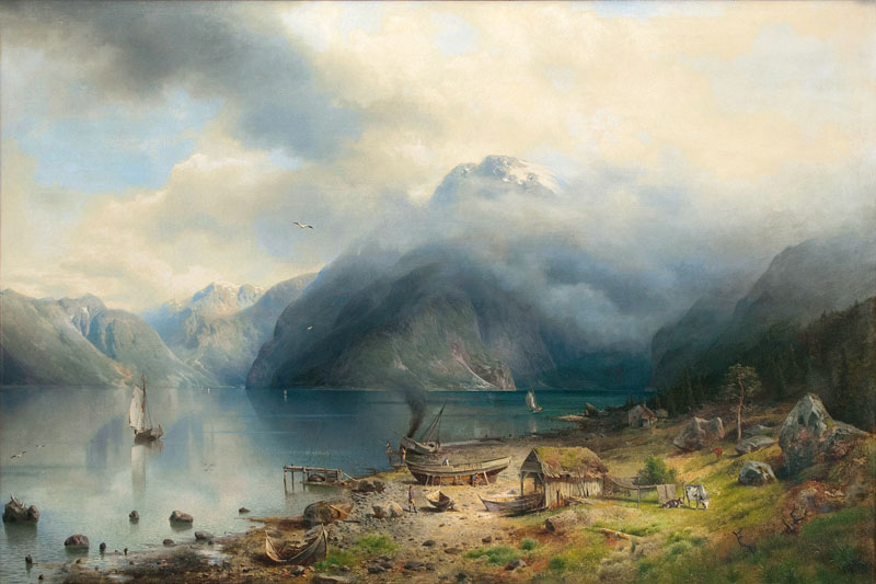 Norwegian Fjord with Fishermen on the Shore