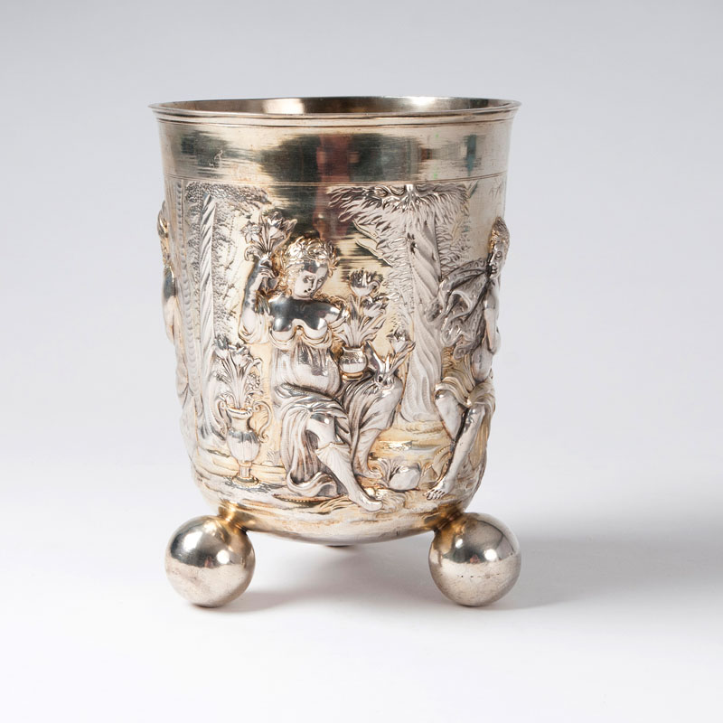 A museum-like grand beaker with chased allegory of the four seasons