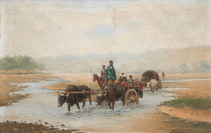 An Oxen Carriage passing a River
