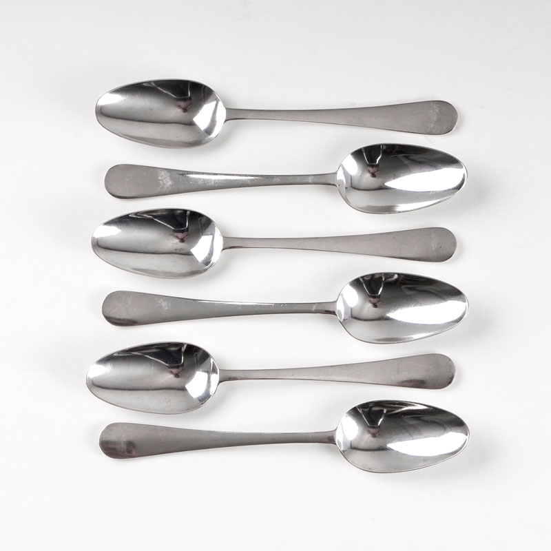 A set of 6 Art Nouveau dinner spoons 'Modell III'