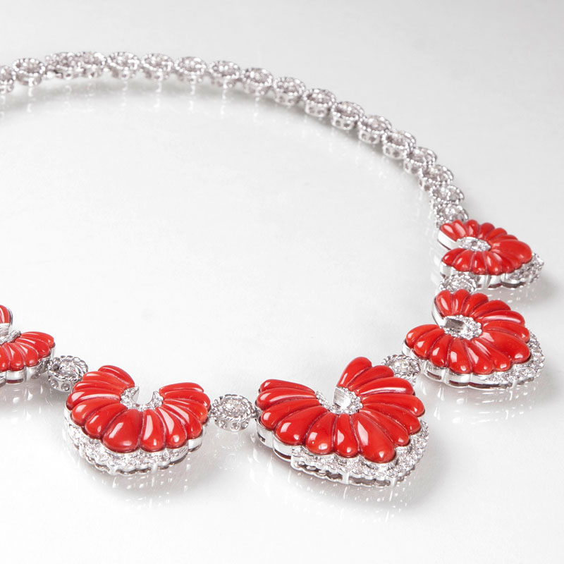 A highcarat diamond coral necklace in french Vintage style