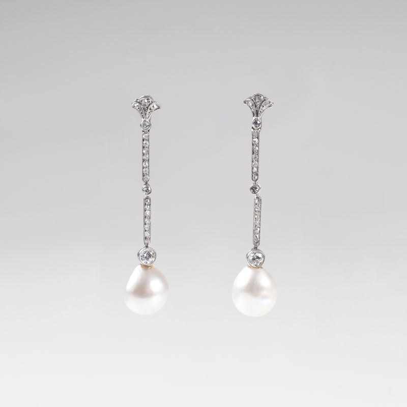 A pair of Art Nouveau diamond earpendants with natural pearls