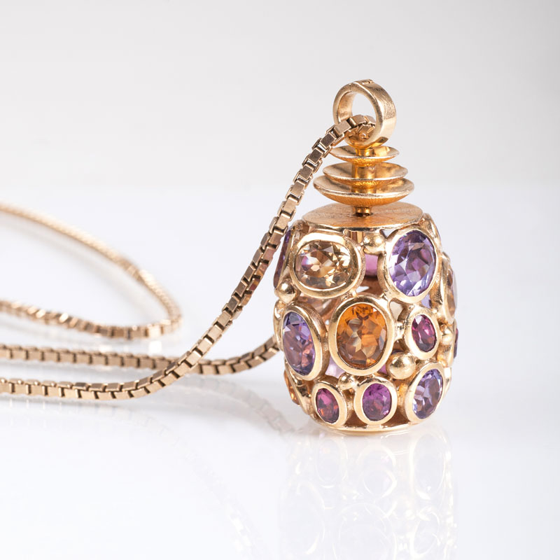 A tourmaline amethyst citrine pendant with necklace