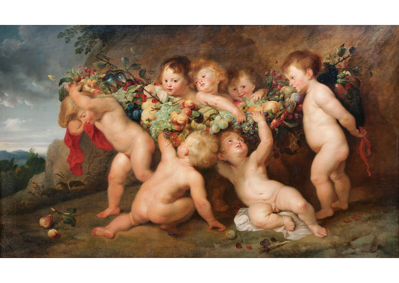 Putti with Garland of Fruits