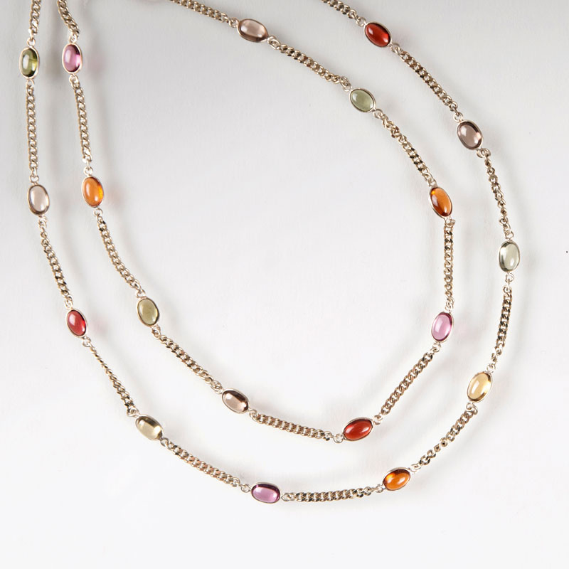 A very long, multicoloured quartz tourmaline necklace