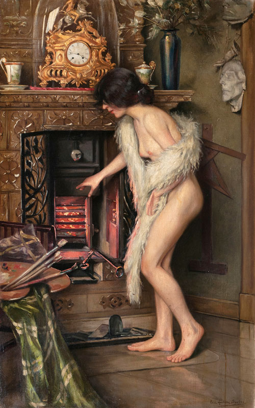 Nude by a Chimney