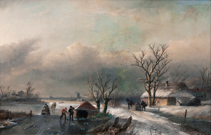 Winter Landscape with Frozen River and Horse Sleigh