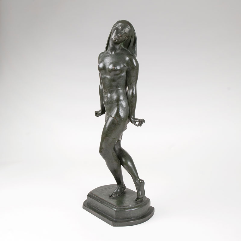 An art déco bronze sculpture 'dancer'