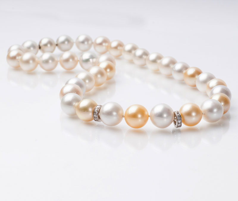 A Southsea pearl necklace with diamond setting
