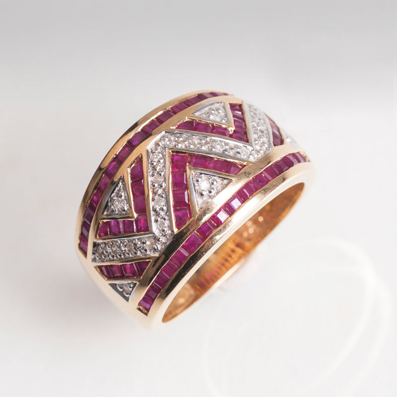 A ruby diamond ring in Art Déco style