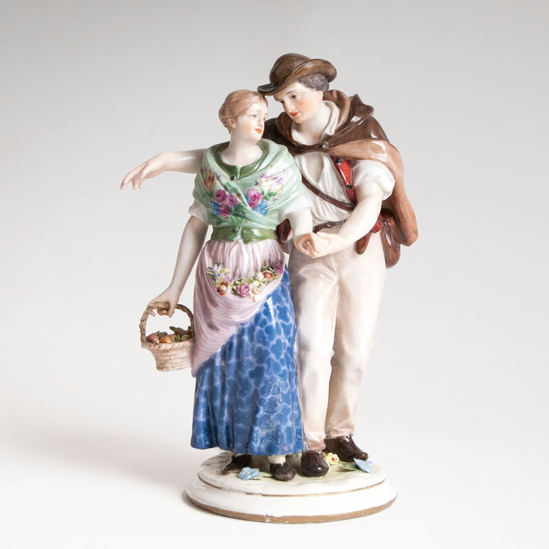 A porcelain group 'Return Home from the Field'