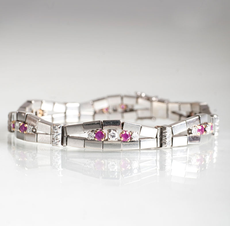 A bracelet with rubies and diamonds