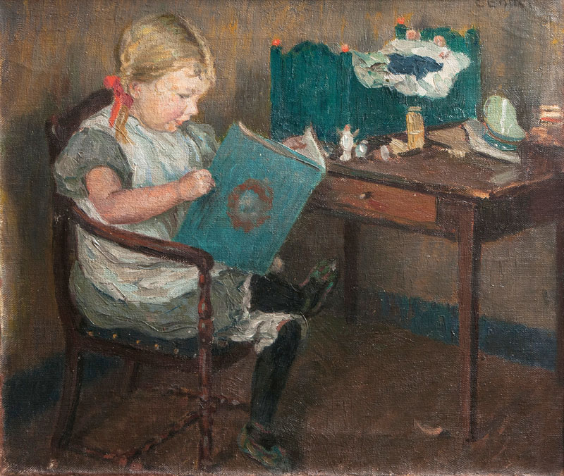 The Artist's Daughter holding a Book