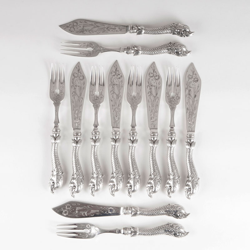 A rare Art Nouveau fish cutlery for 6 persons