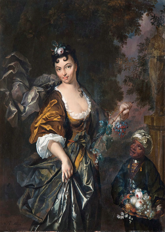 Elegant Lady as Flora with black Servant