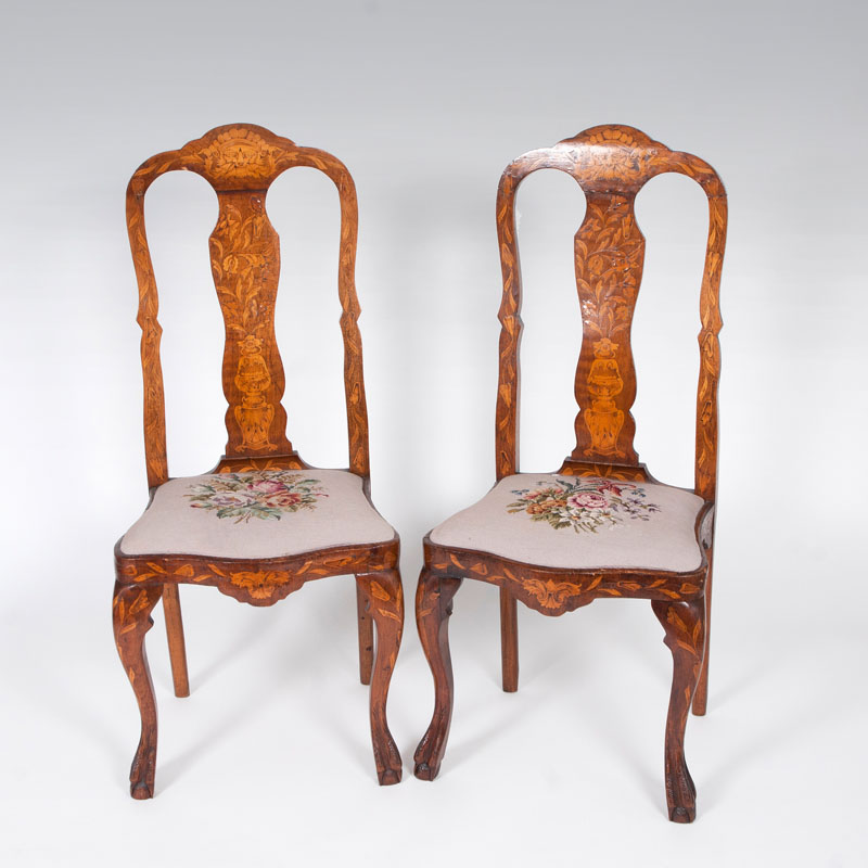 A pair of dutch marquetry-chairs