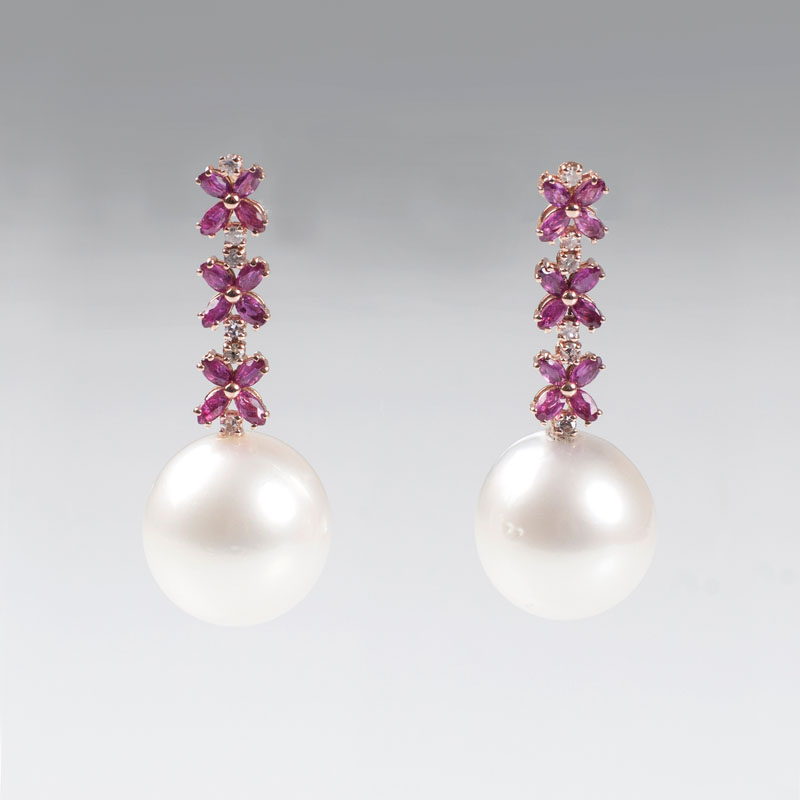 A pair of ruby diamond earrings with Southsea pearls