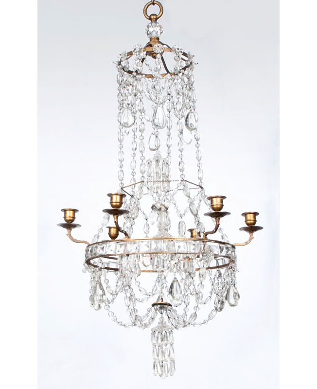 A small and decorative crystal glass ceiling light