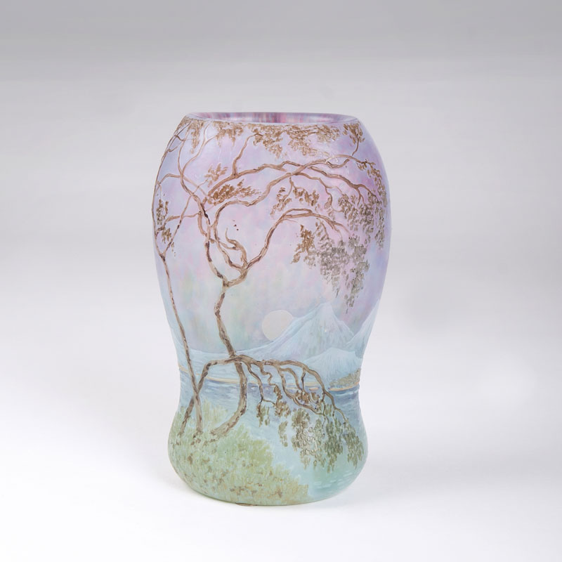 A small Perrier vase with a coast landscape