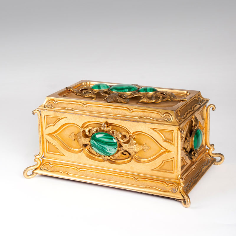 An extraordinary gilded casket with malachites