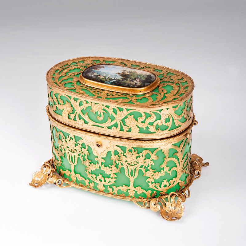 A delicate mounted casket with reverse glass paiting