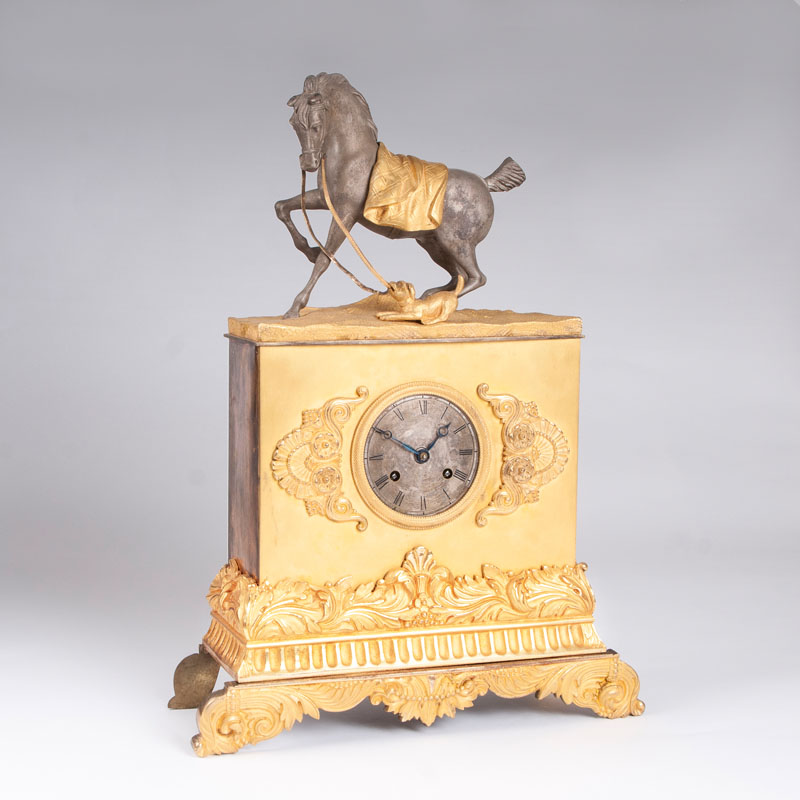A Louis Philippe pendulum 'Horse and dog'